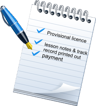Provisional licence   lesson notes & track record printed out payment